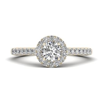 The Diamond Story 18ct Yellow Gold 0.66ct Round Halo Ring - Product number 9034900