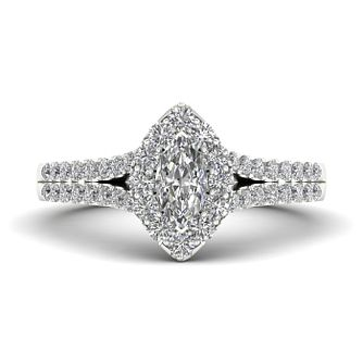The Diamond Story Platinum 0.66ct Marquise Halo Ring - Product number 9038701