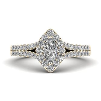 The Diamond Story 18ct Yellow Gold 0.66ct Marquise Halo Ring - Product number 9040293