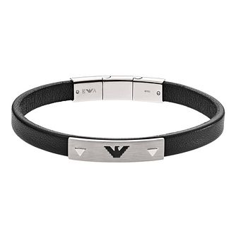 Emporio Armani Men's Black Leather Bracelet - Product number 9040730