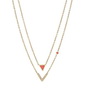 Fossil Ladies' Yellow Gold Tone Fashion Coral Necklace - Product number 9040994