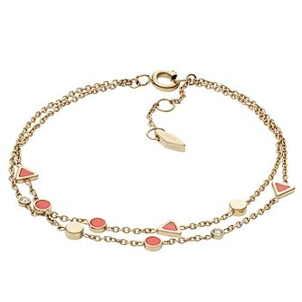 Fossil Ladies Yellow Gold Tone Coral Bracelet - Product number 9041044