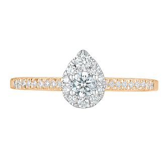 Tolkowsky 18ct Rose Gold 0.38ct Pear Halo Diamond Ring - Product number 9042377