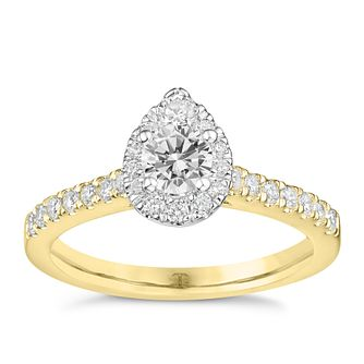 Tolkowsky 18ct Yellow Gold 3/4ct Pear Halo Diamond Ring - Product number 9043314