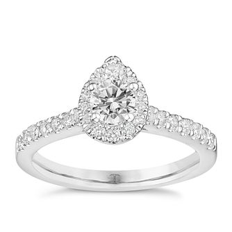 Tolkowsky Platinum 3/4ct Pear Halo Diamond Ring - Product number 9045147
