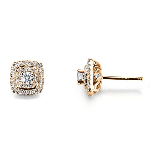 Tolkowsky 18ct Rose Gold 0.60ct Cushion Halo Earrings - Product number 9046445