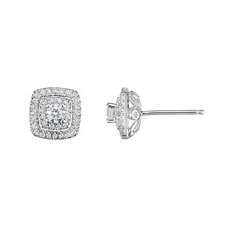 Tolkowsky Platinum 0.60ct Cushion Halo Earrings - Product number 9046453
