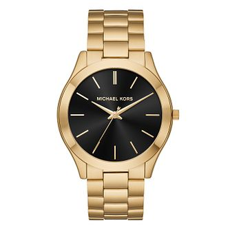 Michael Kors Slim Runway Men's Yellow Gold Tone Watch - Product number 9046542