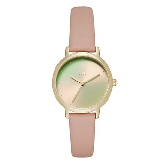 DKNY Modern Ladies' Gold Tone Iridescent Dial Strap Watch - Product number 9047476