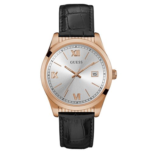 Guess Men's Black Leather Strap Watch - Product number 9047611