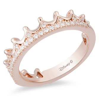 Enchanted Disney Rose Gold 1/6ct Diamond Princess Crown Ring - Product number 9050191
