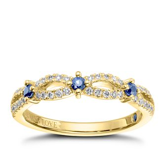 Vera Wang 18ct Yellow Gold 0.18ct Diamond & Sapphire Band - Product number 9078347