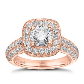 Vera Wang 18ct Rose Gold 2.45ct Diamond Cushion Halo Ring - Product number 9082093
