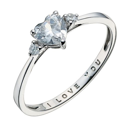9ct White Gold I Love You Ring - Product number 9082549