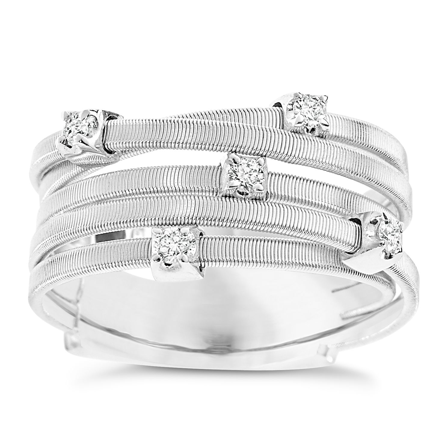 Marco Bicego 18ct White Gold Five Row 0.15ct Diamond Ring - Product number 9096388