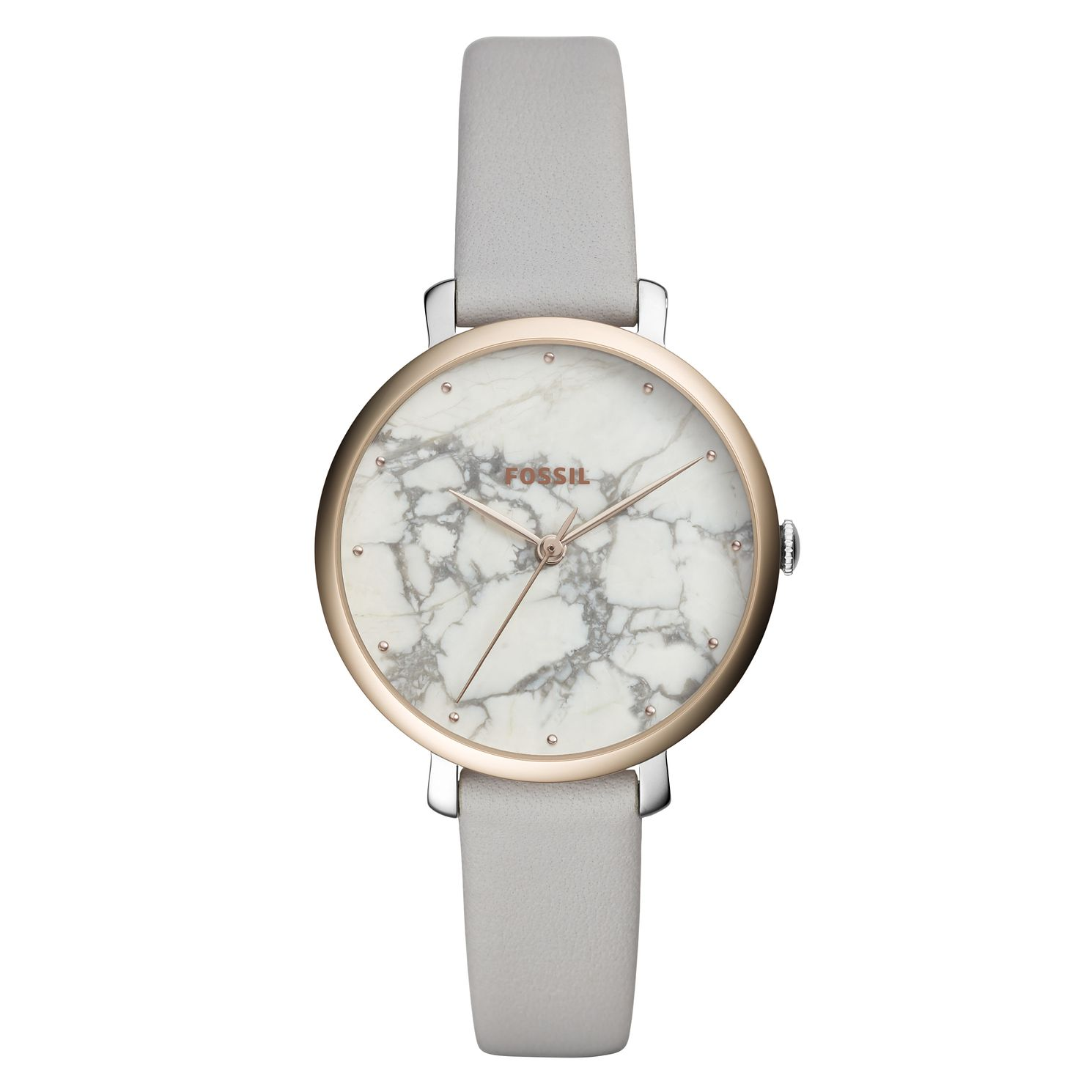 Fossil Ladies' White Marble Dial Grey Leather Strap Watch - Product number 9103295