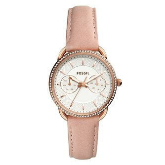 Fossil Ladies' Silver Dial Nude Leather Strap Watch - Product number 9103325
