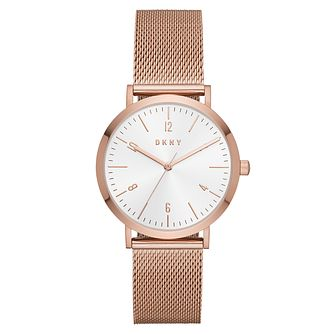 DKNY Ladies' Rose Gold Plated Mesh Strap Watch - Product number 9104178