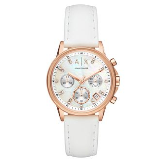 Armani Exchange Ladies' Rose Gold White Leather Strap Watch - Product number 9105603