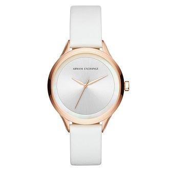aaaae633073105 Armani Exchange Ladies' Rose Gold White Leather Strap Watch - Product  number 9105611