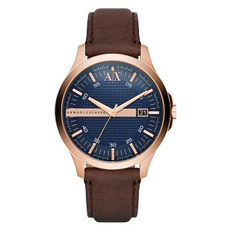 Armani Exchange Men's Brown Leather Strap Watch - Product number 9105670