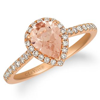 Le Vian 14ct Strawberry Gold Morganite & 0.29ct Diamond Ring - Product number 9107096