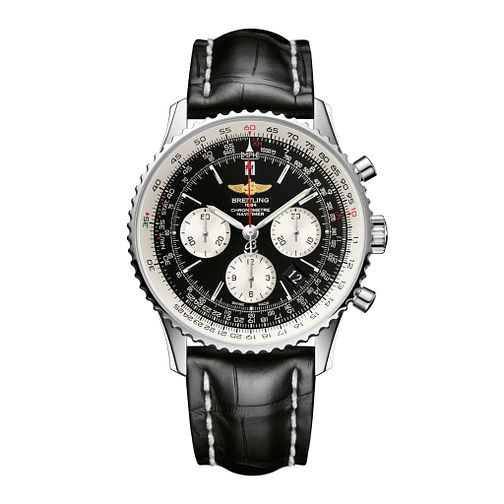 Breitling Navitimer 01 Men's Black Leather Strap Watch - Product number 9112847