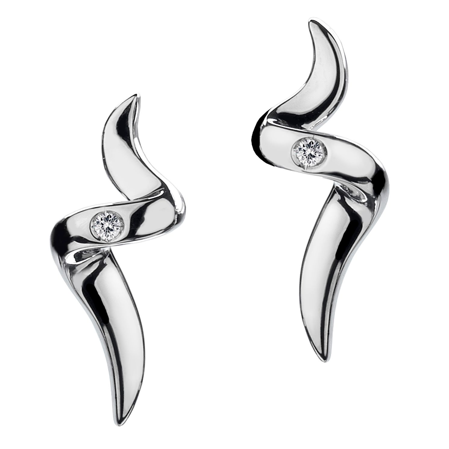 Hot Diamonds Sterling Silver Spiral Diamond Earrings - Product number 9113894