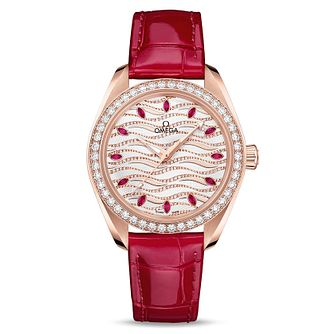 Omega Seamaster Aqua Terra Diamond Ruby Leather Strap Watch - Product number 9176535