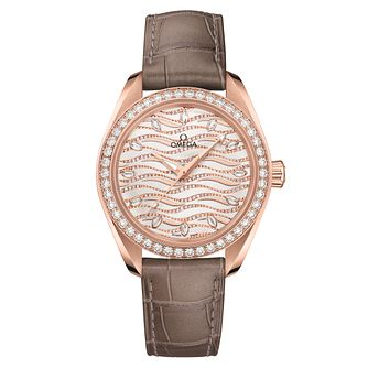 Omega Seamaster Aqua Terra Ladies' Brown Leather Strap Watch - Product number 9176543