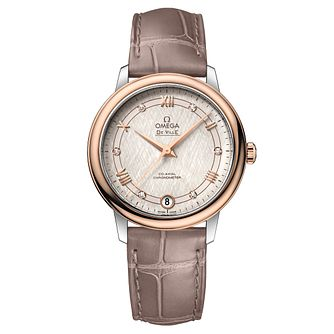 Omega De Ville Ladies Diamond Taupe Leather Strap Watch - Product number 9176586