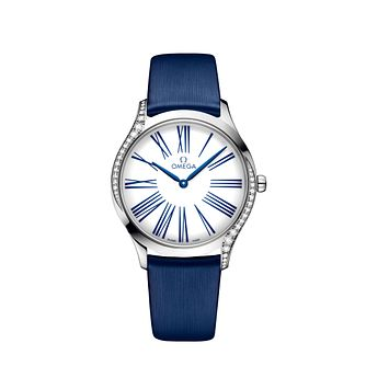 Omega De Ville Trésor Ladies Diamond Blue Fabric Strap Watch - Product number 9176594