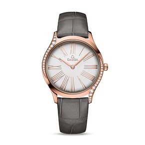 Omega De Ville Ladies' 18ct Rose Gold Grey Strap Watch - Product number 9176837