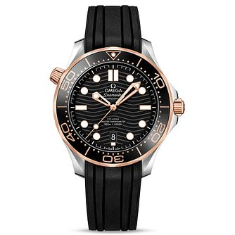 Omega Seamaster Diver Men's Black Rubber Strap Watch - Product number 9178058