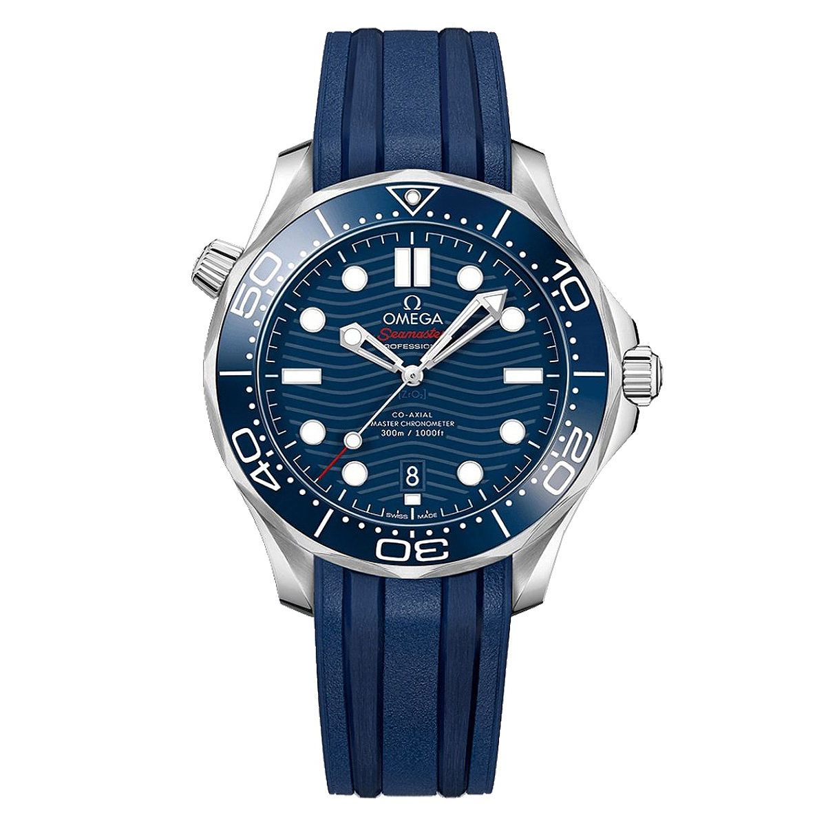 Omega Seamaster Diver Men's Blue Rubber Strap Watch - Product number 9178104
