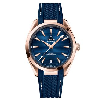 Omega Seamaster Aqua Terra Rose Gold Men's Blue Strap Watch - Product number 9178376