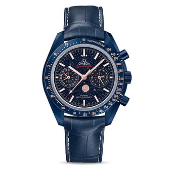 Omega Speedmaster Moonwatch Men's Blue Leather Strap Watch - Product number 9178562