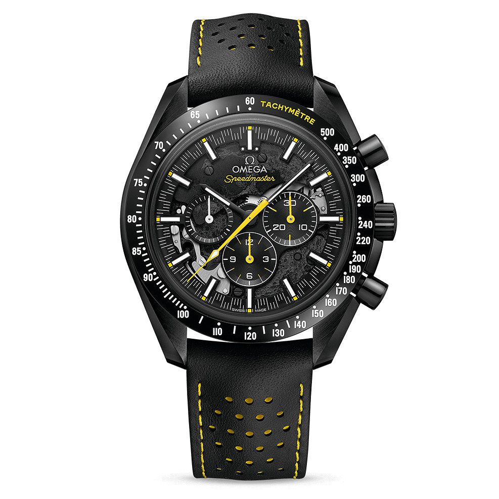 Omega Speedmaster Moonwatch Men's Black Leather Strap Watch - Product number 9178589