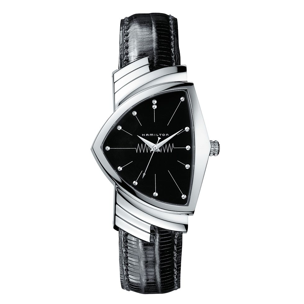 Hamilton Ventura Men's Black Leather Strap Watch - Product number 9192050
