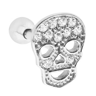 Bodifine White Gold Cubic Zirconia Skull Tragus Single Stud - Product number 9192239
