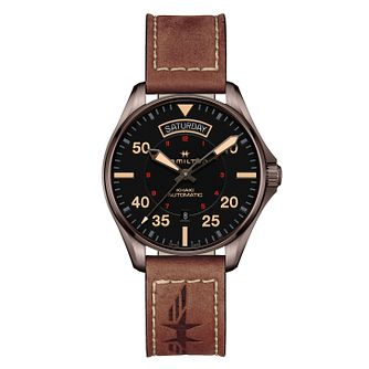 Hamilton Khaki Aviation Brown Strap Watch - Product number 9192255