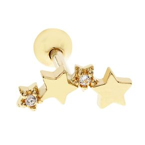 Bodifine 9ct Gold Cubic Zirconia Stars Tragus Single Stud - Product number 9192328