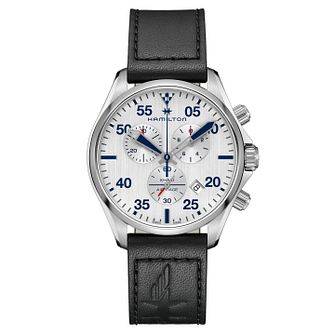 Hamilton Stainless Steel Aviation Black Strap Watch - Product number 9192433