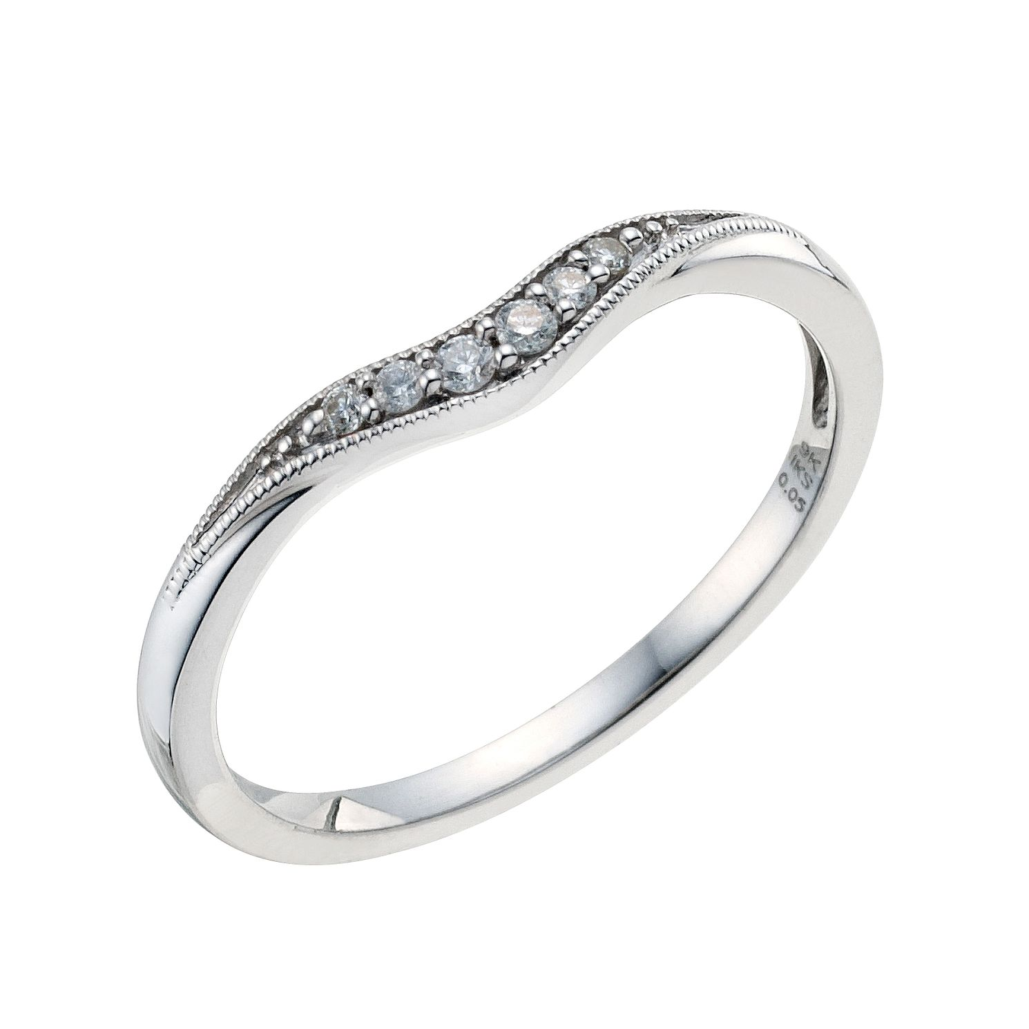 9ct White Gold Shaped Pave Set Diamond Wedding Band - Product number 9193499