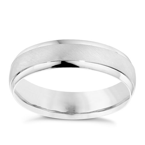 Men's 9ct White Gold Satin Polished 5mm Band - Product number 9194622