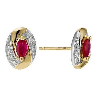9ct Yellow Gold Oval Ruby & Diamond Earrings - Product number 9207031