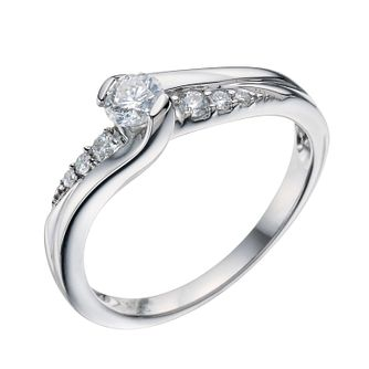 Perfect Fit 9ct White Gold 0.33ct Diamond Twist Ring - Product number 9219250