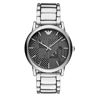Emporio Armani Men's Black and Grey Patterned Dial Watch - Product number 9227121
