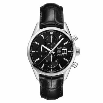 TAG Heuer Carrera Men's Black Leather Strap Watch - Product number 9232133