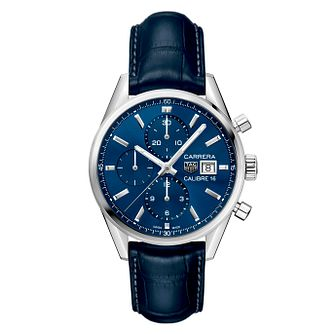 TAG Heuer Carrera Men's Blue Leather Strap Watch - Product number 9232168